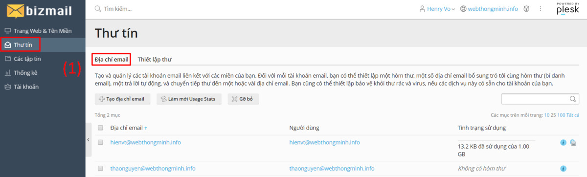 chinh sua email